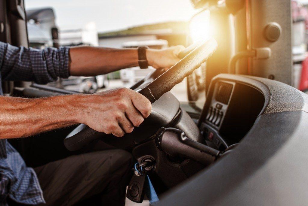 Driver inside a truck