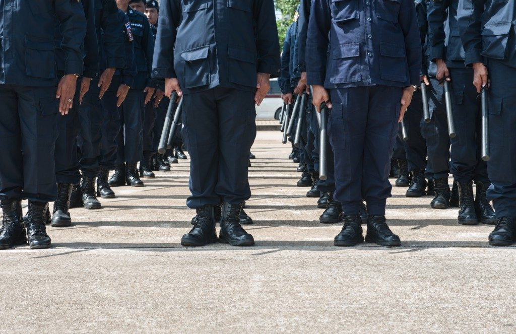 lined up policemen