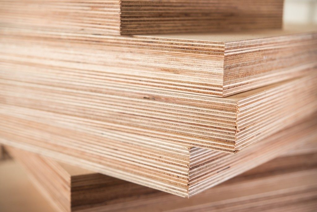 close up plywood stacked together