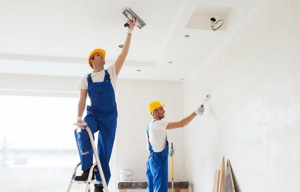contractors renovating house