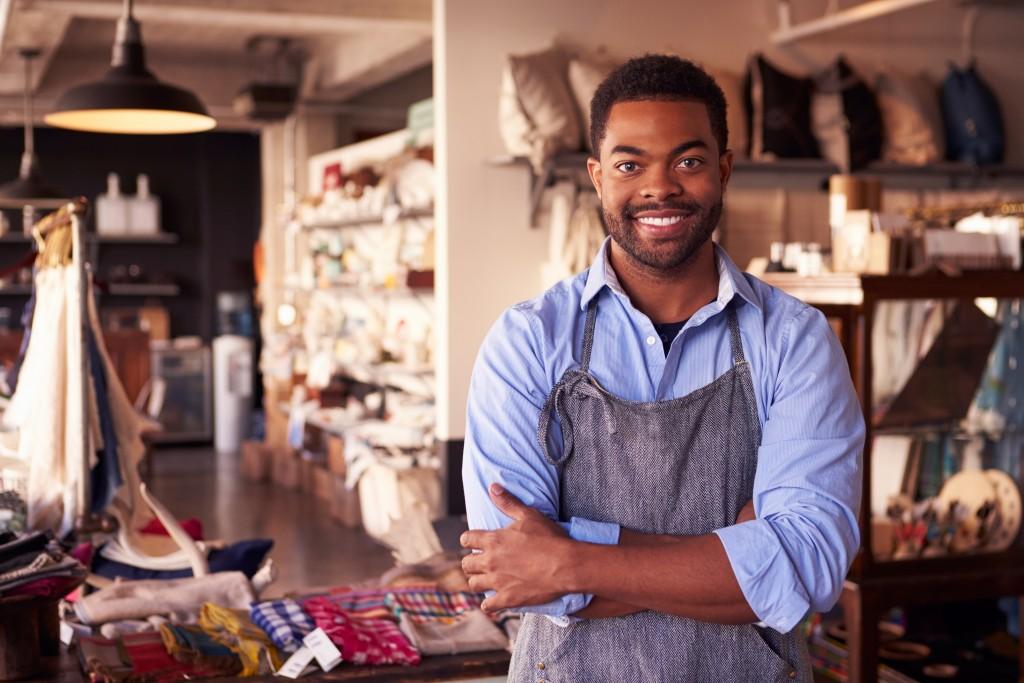 Salesman wearing an apron