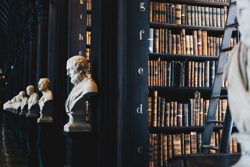 statue busts at the library