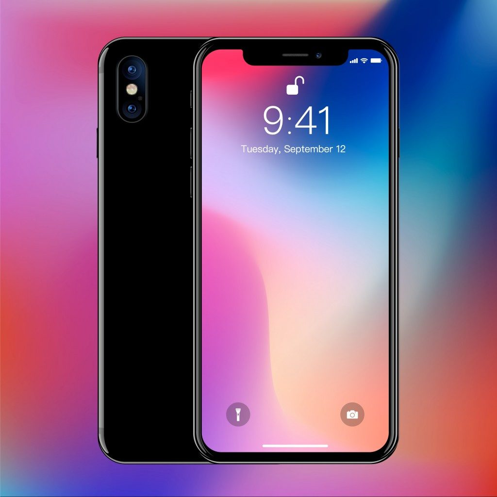 iphone in a colorful background