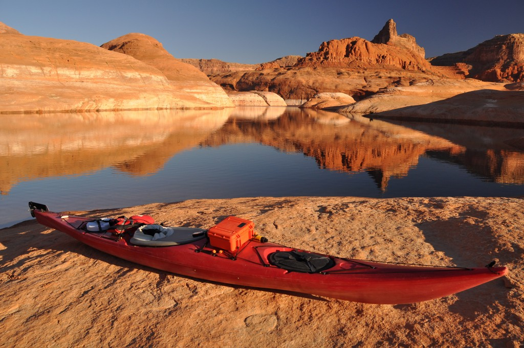 kayak beside a beautiful lake